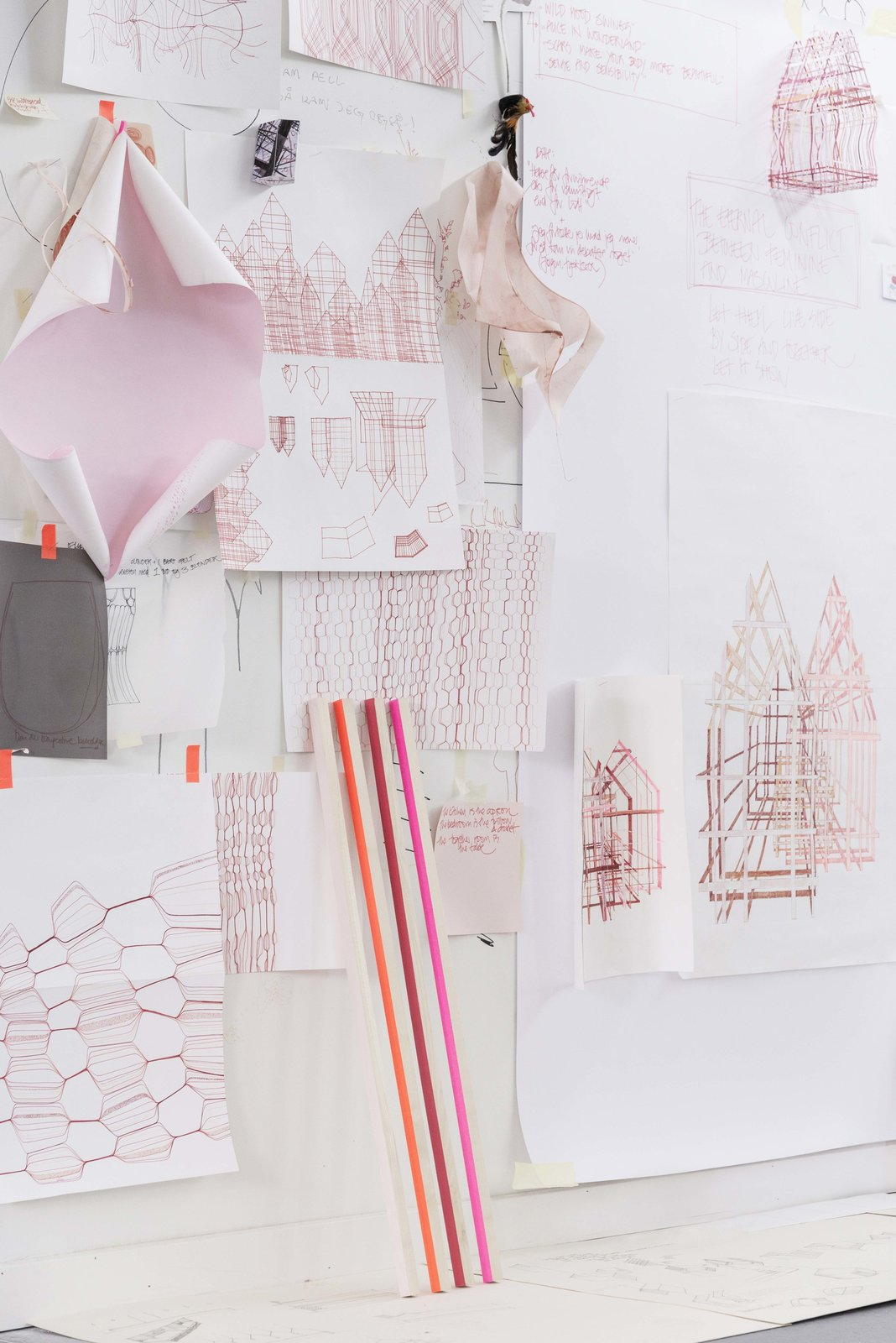 """The working color palettes are hues of pinks but Campbell is musing about introducing blues and indigos.  Search """"memoriam ada louise huxtable"""" from Designer Louise Campbell Featured at Imm Cologne"""