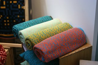 Over at independent trade show designjunction, the bold color combinations of Barcelona-born, London-based Cristian Zuzunaga's Labyrinth blankets caught our eye.