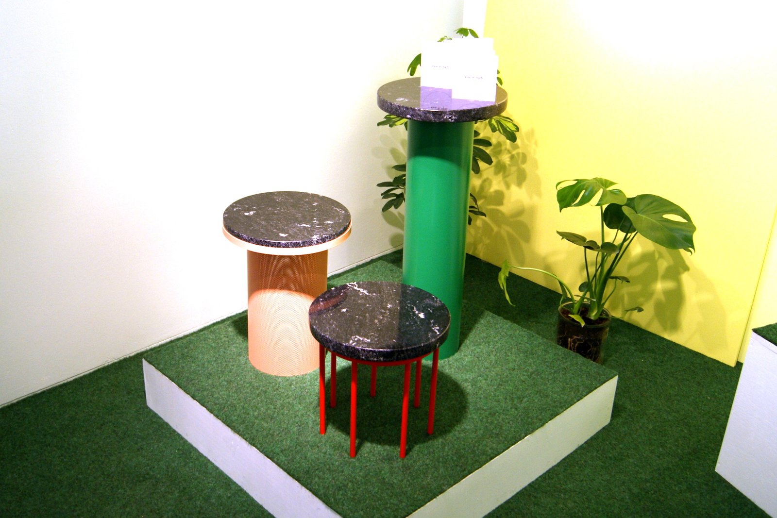 More of the Memphis-inspired collection of pedestal tables in granite and stainless steel by Vera & Kyte.  Key Trends from 2013 London Design Festival by Ali Morris