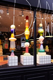 The wares have been expertly styled into a playful display that transforms the store's London showroom into a mecca of Memphis.