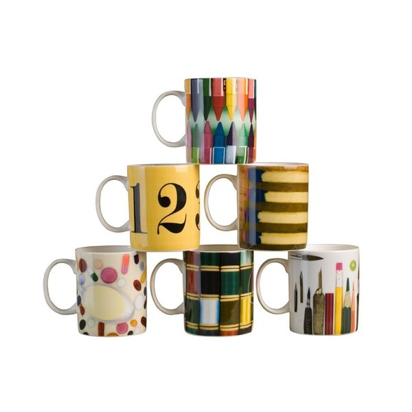 """Eames Mugs  """"Although the Eames are no longer around to design for us, they're still inspiring us—in this case, with artist's tools from their popular House of Cards,"""" Derringer says."""
