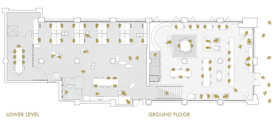 A floor plan shows an example of the space's configuration.  Photo 2 of 3 in Makeshift Society's Eastward Expansion