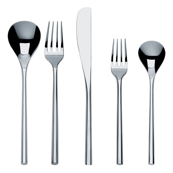 Alessi MU Flatware Place Setting Created by award-winning Japanese architect and designer Toyo Ito, this distinctive cutlery set draws on the tactile sensation of chopsticks. Its sleek, linear lines are softened with an organic quality inspired by plants. The result is an elegant harmony. Composed of one table spoon, one table fork, one table knife and one dessert fork in 18/10 mirror polished stainless steel.  Find this item at the Dwell Store.