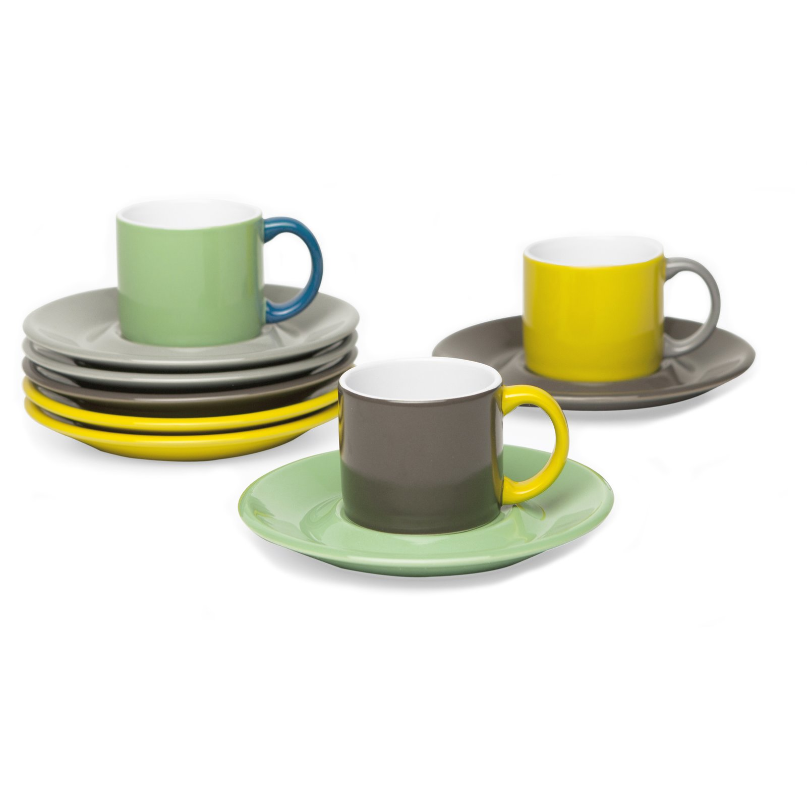 """Jansen+Co Espresso Mug and Saucer Made of high quality ceramic, these mugs are perfect for serving that little bit of espresso at the end of a fabulous meal. They are a beautiful combination of industrial production and hand finish. Their shape is classic with twist and is available in bright colors and urban tones.  Find this item at the Dwell Store.  Search """"jansen co my mug espresso saucer"""" from Fun and Funky Modern Tableware"""