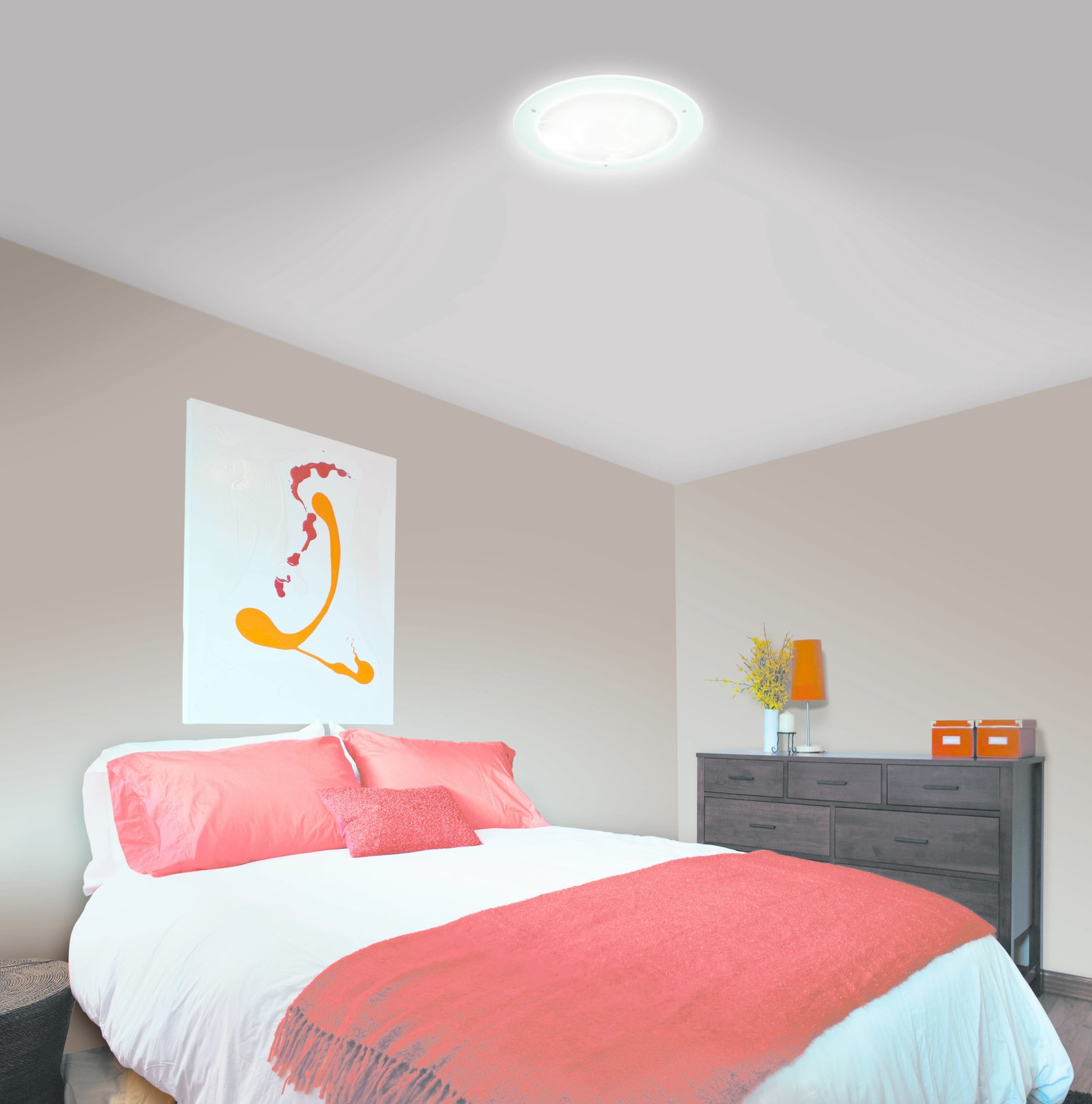 Less laborious than installing windows and more energy-efficient than turning on electric lights, tubular skylighting is a creative, sustainable design solution for brightening dim rooms.  Bedroom from See How Solatube Products Stream Natural Light Into Even the Darkest Corners of the Home