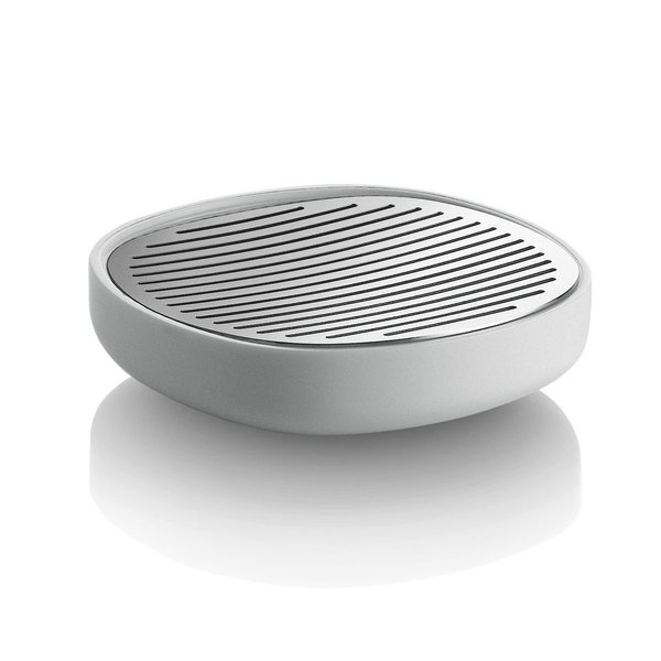 Sleek lines and rounded corners give the Birillo Soap Dish a minimal yet modern appearance. Designed by Piero Lissoni as part of the Birillo collection of bathroom accessories, the Soap Dish is made from shatter-proof white PMMA and polished, slotted stainless steel to allow for optimal water drainage.