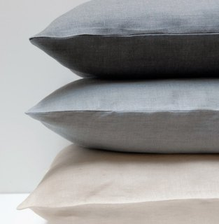 EMILE by Area Home  The EMILE collection features charcoal, mineral, and crème 100% pure linen duvet covers, bagstyle pillowcases (sold in pairs), euro shams and french-back body pillow cases. Linen is cool, long lasting, lint free, and gets softer with every wash. Great for adding texture and layering for luxurious bed.
