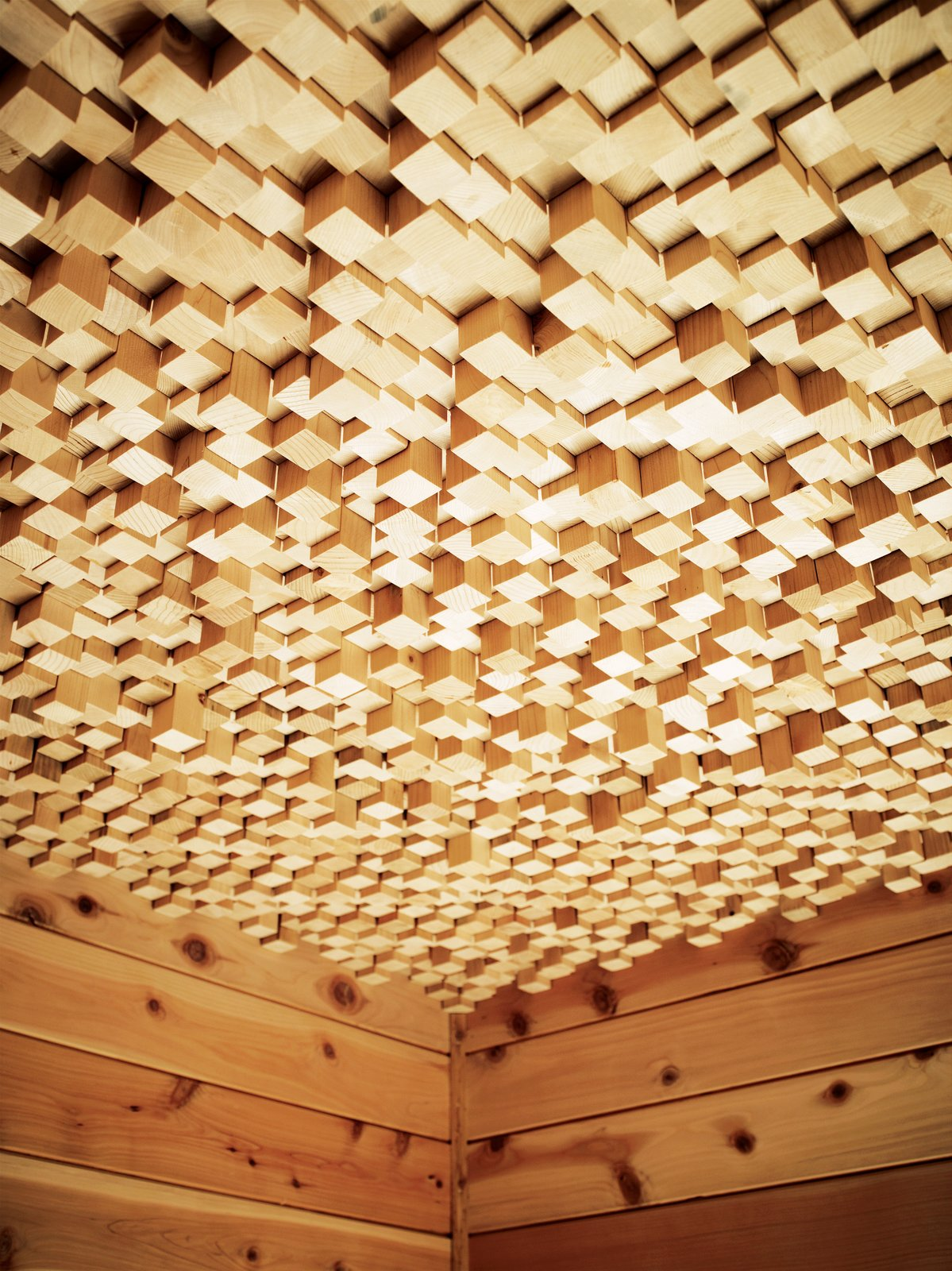 Outdoor Kartheiser's courtyard also includes a dry sauna with a ceiling made from 2,500 pieces of wood.  Loft