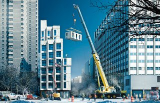 Renderings of their project reveal a building made of 55 modules that will be prefabricated in a factory in the Brooklyn Navy Yard and craned into place on a city-owned lot on East 27th Street in Manhattan.