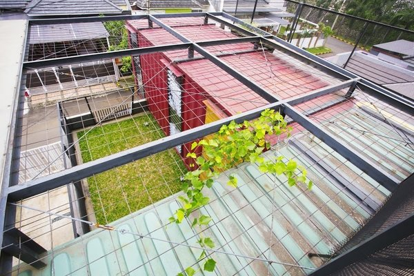 Covered with wire mesh, the green roof will continue to vegetate over time.