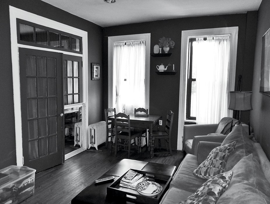 The renovation stripped away crown molding and French doors.  Photo 9 of 14 in How One Family of Three Does It All in 675 Square Feet