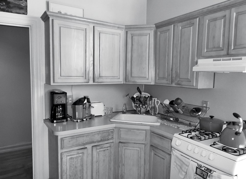 Friedlander and Schmidt replaced the stock cabinetry in the kitchen as part of the renovation.  Photo 11 of 14 in How One Family of Three Does It All in 675 Square Feet