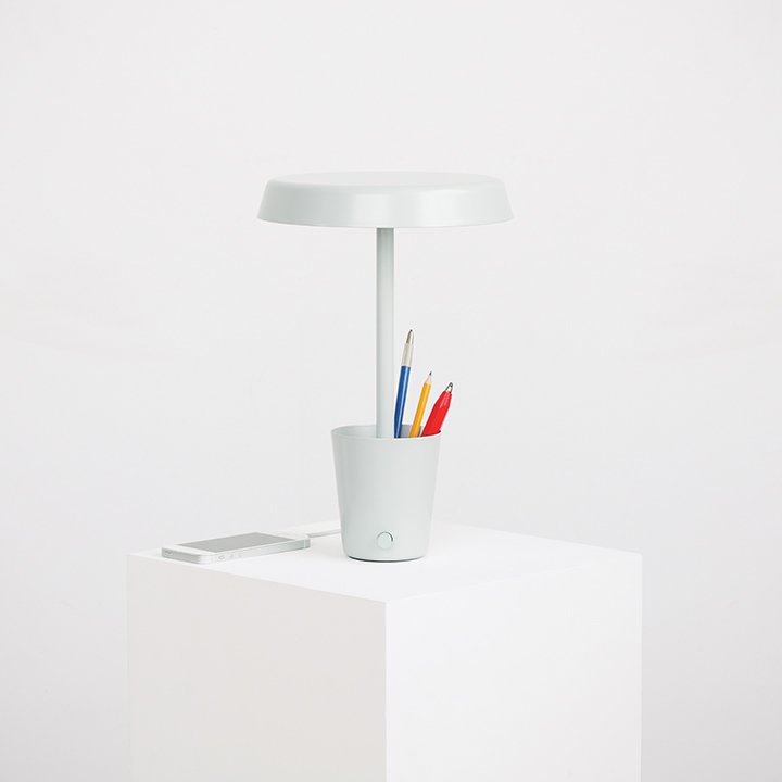 Cup lamp by Paul Loebach for Umbra Shift, $180  Umbra launched its Shift brand in 2014 with a mission to improve the objects we use daily. For example, the dimmable LED-illuminated desk lamp features a space-saving storage cup and handy USB hub for charging mobile device.  Must-Have Tech Products for a Modern Home Office by Diana Budds