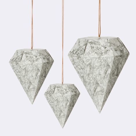 Paper Diamond Marble - Set Of 3  We love these paper diamond ornaments from Ferm Living. They are just intriguing enough to be unique but not over the top. Perfect for a clean, minimal, and modern holiday.