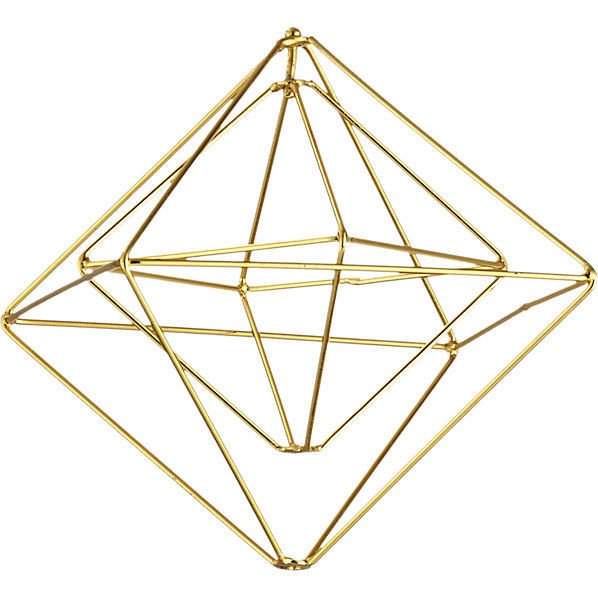 Boxes Gold Ornament  This 3D geometric ornament creates a sense of modern movement with a gleaming brass or silver finish. We think they would be extra eye-catching in multiples on the tree or mantel.
