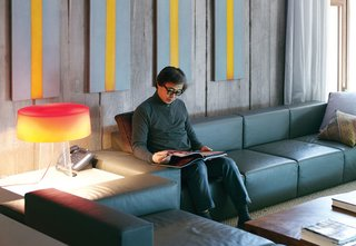 Seoul architect Byoung-soo Cho designed the sofas in his urban dream house to resemble building blocks.