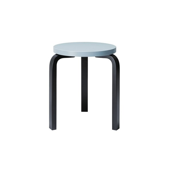 Designed by Alvar Aalto in 1933, the classic Artek Stool 60 is considered the definition of functionalist furniture design.  The Hella Jongerius Edition of the stool recasts Aalto's classic design with colorful seats and legs, including this blue seat with charcoal legs. The result is a thoughtful re-imagination that retains Aalto's classic, functional design.