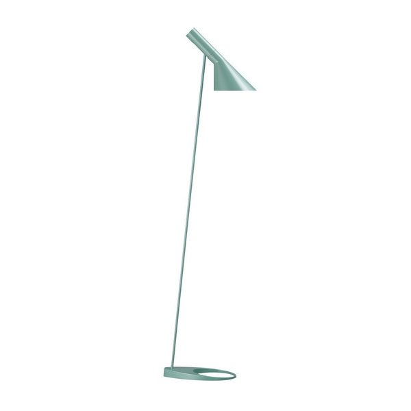 Designed by Arne Jacobsen, the aptly named AJ lamps were designed in 1960 for the SAS Royal Hotel in Copenhagen, Denmark. The AJ Floor Lamp features a sleek shade that emits directed light. The adjustable shade can be angled to distribute light where it is most needed, making it an excellent choice for a reading corner in a den or a home office.   Also available in a table lamp and wall lamp.