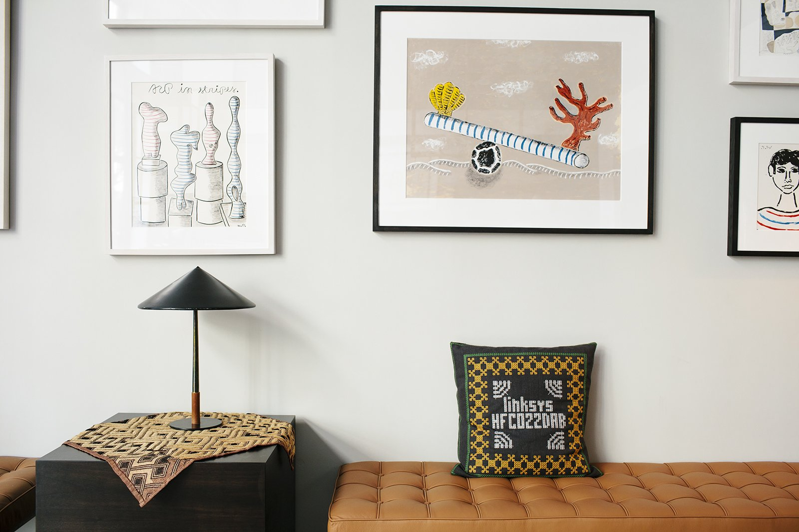 living room with hanging art