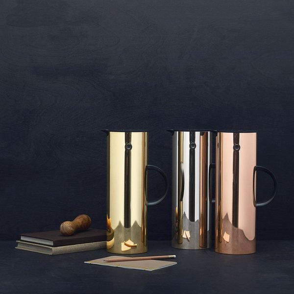 Designed by Eric Magnussen for Stelton, the Vaccum Jug contains a interior glass vessel to efficiently insulate beverages for hours on end. It's remained in production since its launch in 1977, it has continued to be released in new colorways, including these metallic finishes in gold, silver, and copper.