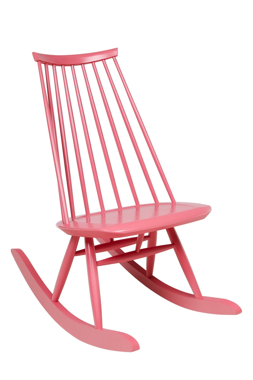 The Mademoiselle rocking chair in solid birch sports a high backrest with a low profile, not terribly dissimilar from the Windsor chair silhouette. It's also available Artek in a non-rocking version, most commonly seen in painted black.  100+ Best Modern Seating Designs from Aalto Isn't the Only Finnish Modernist: Meet Ilmari Tapiovaara