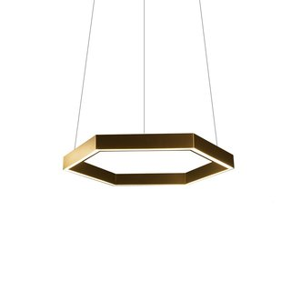 The Hex 750 Brass Pendant is a statement lighting fixture that is created from brass electroplated aluminum that is hand-brushed and finished in a clear matte lacquer that maintains and protects the distinctive finish. The entire hexagon shape is fixed with high output LED strips, which provide a strong and consistent diffusion of light.