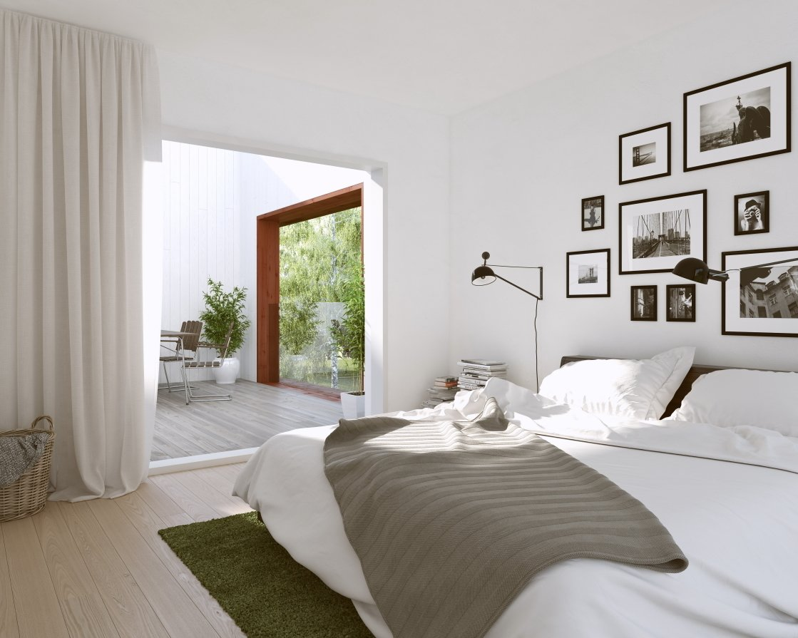 The most popular properties on the site had white walls and wood parquet flooring.  Bedrooms by Dwell from This House Concept was Created by Data from 200 Million Clicks on a Real Estate Site