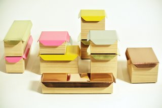 Kallio's storing wood boxes come in various sizes and colors.
