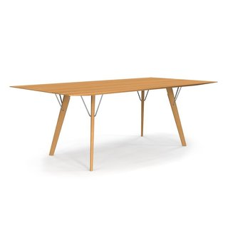 The Skyline Dining Table from Seattle-based Hallbanger takes a minimalist silhouette and pairs it with interesting material details. Available in different wood finishes including maple, walnut, white oak, soaped ash, and black ash, the table features a simple tabletop that is connected to four flared table legs with chrome, brass, or powder-coated metal.