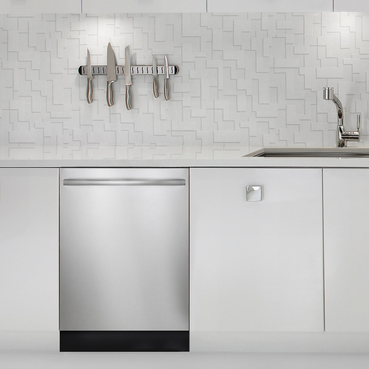 Kitchen, Dishwasher, Undermount Sink, White Cabinet, and Accent Lighting Bosch appliances' modern European look works flexibly in many kitchen types, from transitional to contemporary.  Kitchen