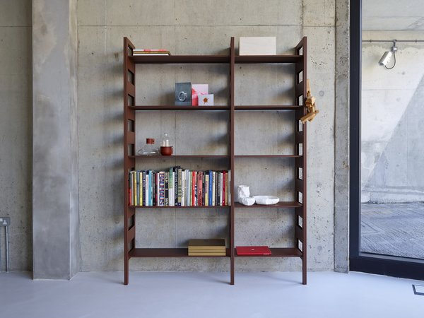The Parallel Shelving System is a wall-mounted component storage solution made of pressed steel.  Photo 4 of 8 in An Interview with SCP Founder Sheridan Coakley