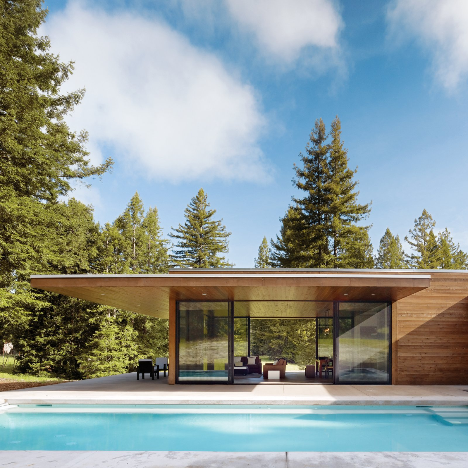 Architects Leslie and Julie Dowling, twin sisters and Michael Graves protégées, created this 1,000-square-foot, single-story home by linking two flat-roofed pavilions together in the shape of a T. The design of this Sonoma County home was inspired by Philip Johnson's 1949 Glass House in New Canaan, Connecticut.  Photo 15 of 16 in Guide to 7 Main Types of Roofs and What You Need to Know About Them from Pools to Dive Into