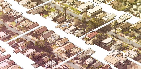LA-MÁS, Backyard Basics: An Alternative Story of the Granny Flat  LA-Más will propose a collective approach to housing in Elysian Valley. Our vision is to write an alternative history for the future of the neighborhood that will serve as a resident-led and resident-owned model for low-rise high-density housing. The project will critically engage lot-lines and speculative buildable space at the air-rights level to envision new territories for low-density development. By utilizing the neighborhood's existing buildable space, we will propose an architectural strategy that realizes the needs of Elysian Valley through cooperative development, combined entitlements, consolidated services, re-consideration of permitted granny flats, and other various opportunities that are possible only through a collective community approach.