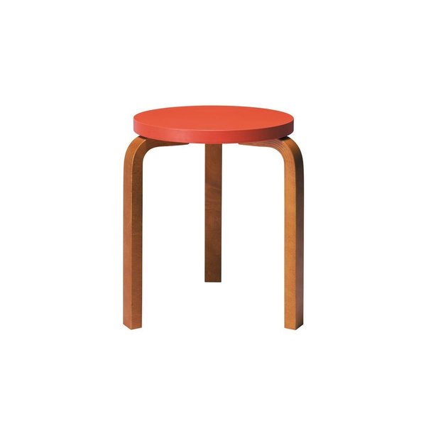 Designed by Alvar Aalto in 1933, the classic Artek Stool 60 is considered the definition of functionalist furniture design. The Hella Jongerius Edition of the stool recasts Aalto's classic design with colorful seats and legs in different wood finishes, ranging from metallic silver to a rich walnut color.