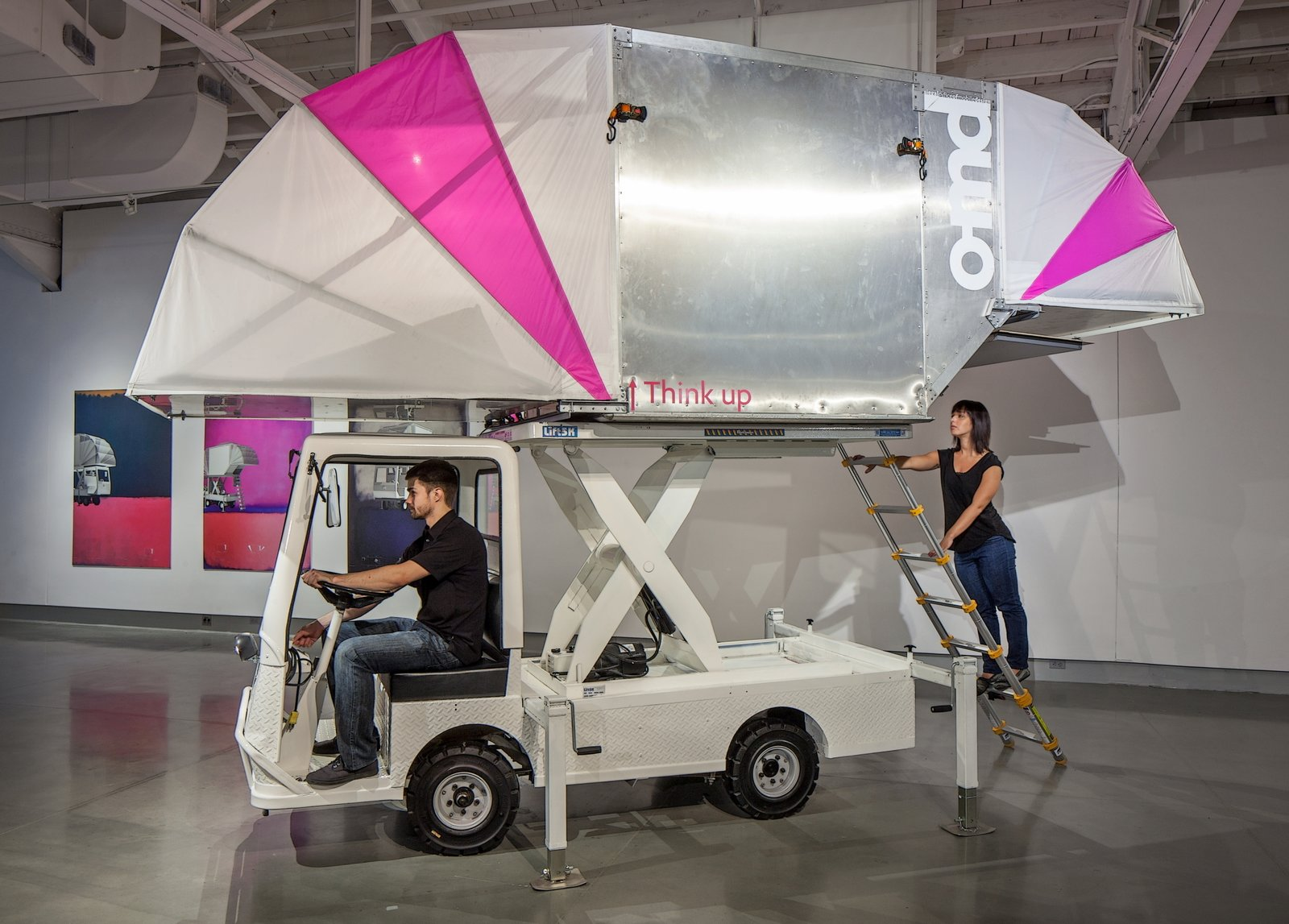 Jennifer Siegal of the Office of Mobile Design dreamed up a mobile dwelling that rests on top of a small truck. By pressing a button, the tent-like structure raises and inflates. A ladder mades the elevated space easily accessible. (Tour Siegal's Venice, California house, which features a truck trailer converted into a living space, here!)  Reimagined Mobile Dwellings by Allie Weiss