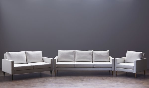 Designed and manufactured in the Bay Area, the inagural collection with a modern armchair, love seat, and sofa, features laser-cut, powder-coated steel frames and solid hardwood legs that are designed to last.