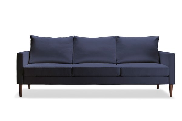 With all shipping included, the chair is $495, the love seat is $745, and the sofa is $995. The set is available in five colors and either black walnut or maple legs.