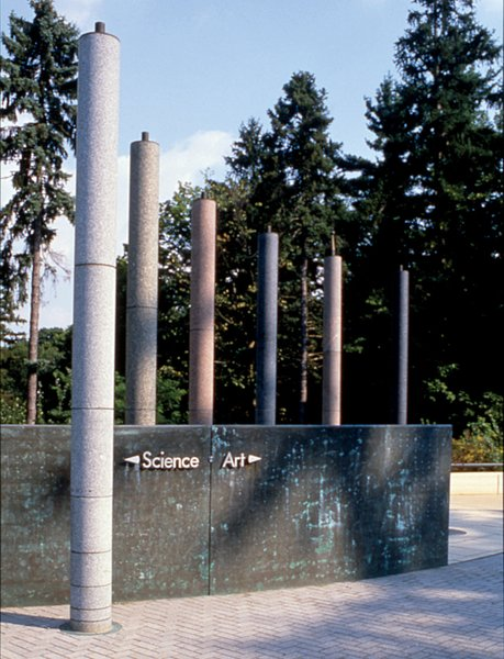 The Arrival Plaza, completed in 1994, at the Cranbrook Academy of Art (below), is Pallasmaa's sole U.S. project to date, and marks the entry of the historic campus designed by Eliel Saarinen.
