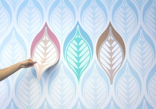 The ModuLayer magnetic wallcoverings from Visual Magnetics Dynamic Spaces allow endless personalization, as the designs can be moved freely without any special adhesives or glue.