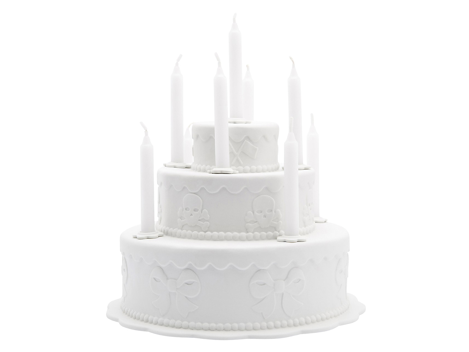 """Biscuit Tiered Cake Candleholder (2006) by Studio Job, estimated at $600–$800. In 2006, Studio Job created a collection entitled """"Biscuit,"""" consisting of nine plates and five objects, for Royal Tichelaar Makkum in the Netherlands. Produced using an old press, a machine that is able to work in relief in greater depth, this gleaming white tiered cake candleholder features rich relief decorations characteristic of Studio Job.  Photo 1 of 10 in Design Guru Murray Moss Launches an Auction With Paddle8"""