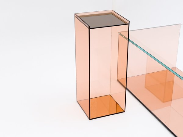 Anna Lynett Moss and Farrah Sit unveiled two glass tables and two leather-and-metal chairs at NYC Design Week 2015.