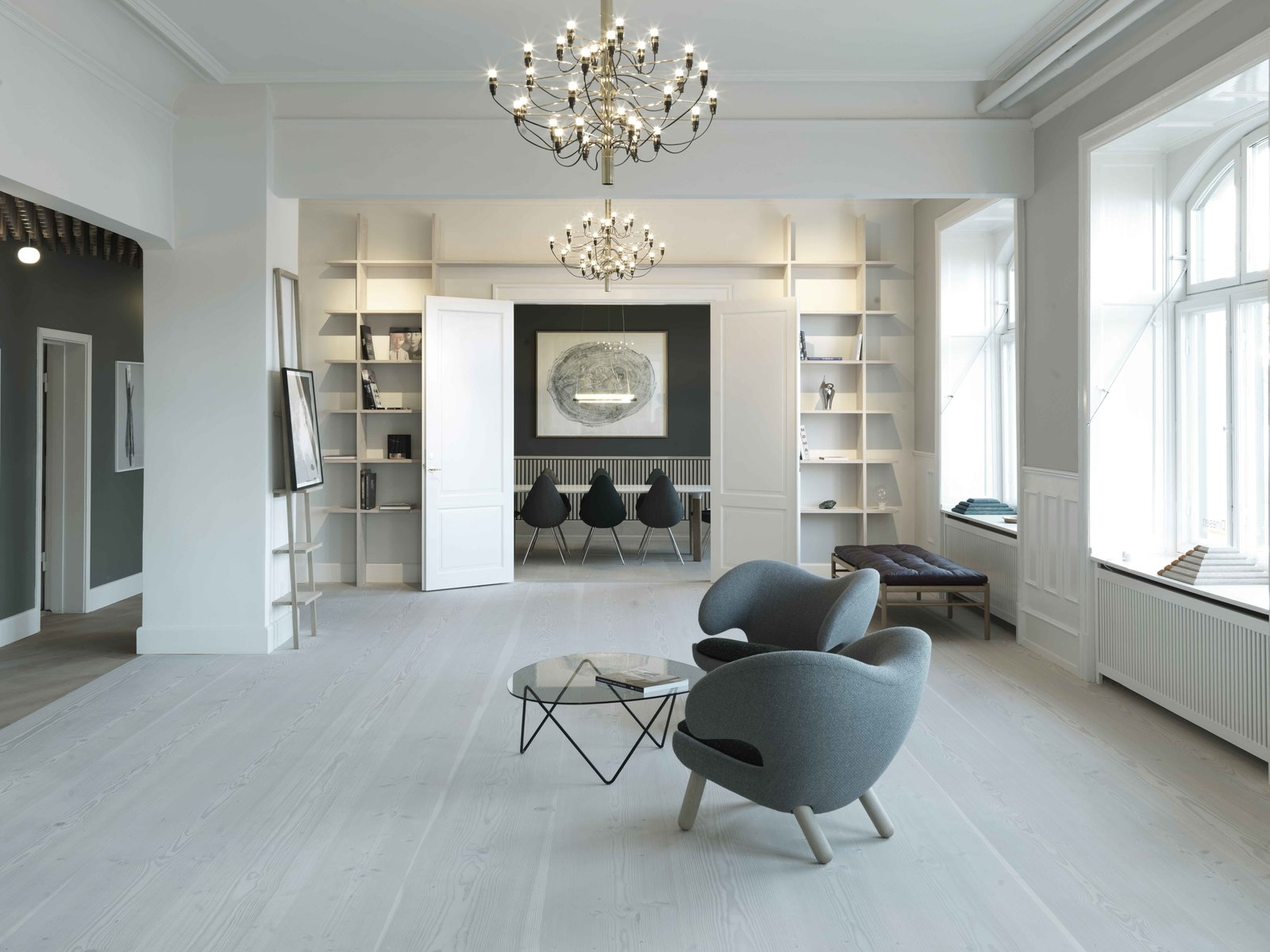 The showroom features distinct rooms adorned with Scandinavian designs. Finn Juhl's Pelican chairs, designed in 1940, create a sitting space.  Photo 6 of 6 in Generations-Old Danish Wood Firm Dinesen Unveils Spiffy Copenhagen Showroom