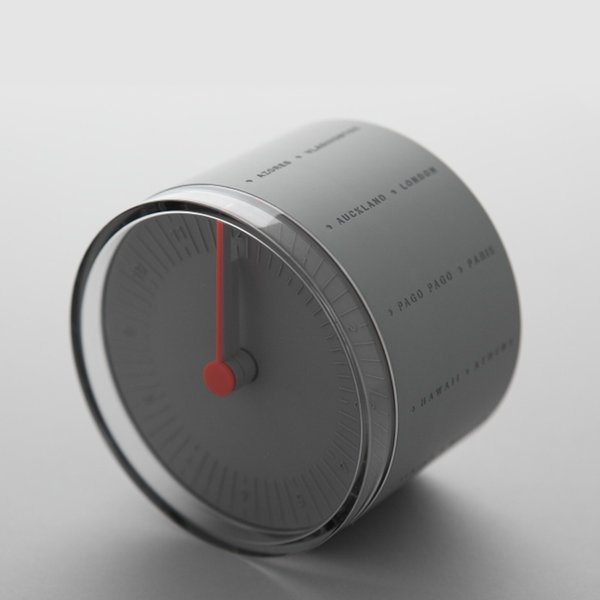 A simple cylinder meets unexpected detail with the World Desk Clock from Korean–based design firm 11+. Although the clock maintains the typical function of a clock—displaying the time—the World Clock takes it a step further. The exterior of the clock is inscribed with names of different international cities, including New York, Santiago, Aukland, Paris, and more. All 24 different time zones can be displayed, thanks to the distinctive rolling mechanism of the clock.