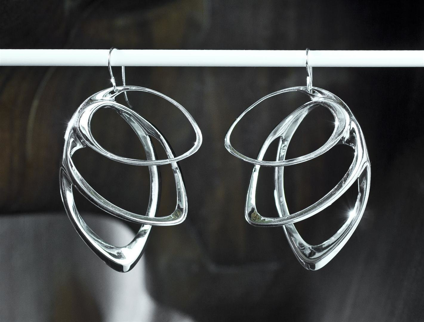 Wu's Orbis earrings, in sterling silver.  Photo 5 of 5 in Stunning Modern 3-D Printed Jewelry