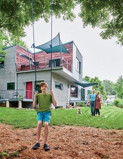 Since Dwell's first visit in 2006, Gary—now 14 years old—has outgrown the swing, and the home has seen a few final updates: The second-floor deck is now covered in reused barn wood, and the terraces have been finished with railings, awnings, and recycled plastic decking.