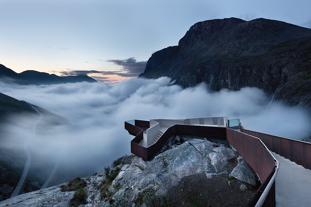 "Along the Geiranger-Trollstigen road in western Norway, Oslo-based Reiulf Ramstad Arkitekter designed a footpath that traverses rocky terrain before terminating at a scenic overlook. ""For me, this is one of the most visionary contemporary architecture projects,"" photographer Ken Schluchtmann says. ""It doesn't destroy the landscape, but is instead fitted perfectly into it.""  Photo 1 of 5 in Stunning Photographs of the Norwegian Landscape"