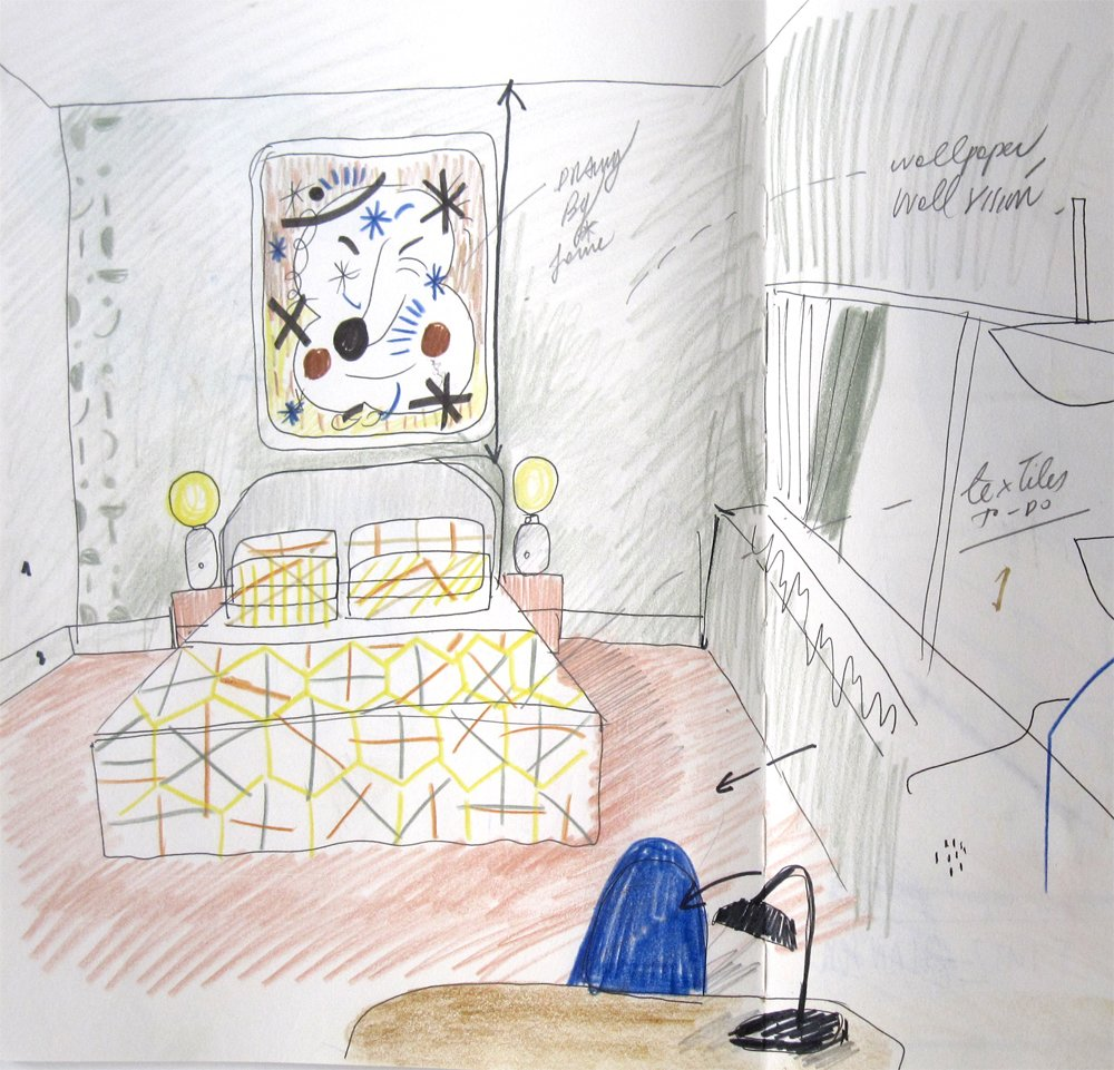 "This sketch shows the bed area of the room. In a hotel, ""you want to relax and feel comfortable, like at home,"" Hayon says.  In designing the space, he chose items made from natural materials. ""It all comes from the earth—ceramics, glass, marble, brass—as it has been since the creation of humanity,"" he says.  Photo 9 of 10 in Jaime Hayon Reimagines a Room in an Iconic Copenhagen Hotel"