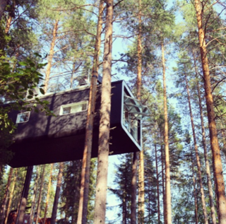 "@suitcasesandstrollers: ""Cool #treehouse. Right in the canopy of the Swedish forest."""