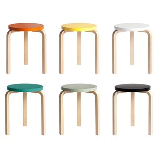 A true icon of functionalist furniture design, the Stool 60 was originally designed by Alvar Aalto for Artek in 1933. Notable for the distinctive bend in the legs, the stool became a signature of Aalto's work, as his subsequent furniture designs feature these defined leg bends. This Anniversary edition was released in conjunction with the design's 80th birthday in 2013.