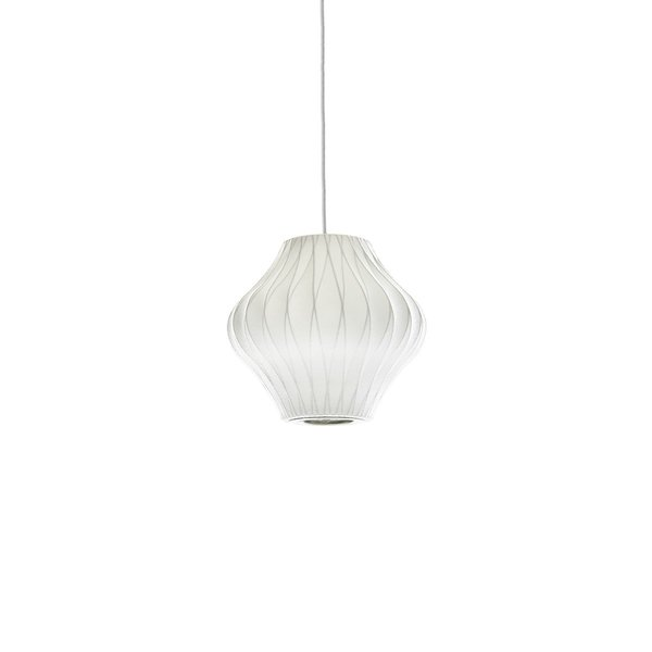 George Nelson's Bubble Lamps were first conceived in 1947. Since they were first produced, the Bubble Pendant Lamps have been a staple of modern lighting, and can be used in a variety of interior spaces. The Pear Criss Cross Pendant is an authentic member of the Bubble Lamp family, and can be used over a dining room table, or with other Bubble Lamps to create a graphic, sculptural display in a living room.